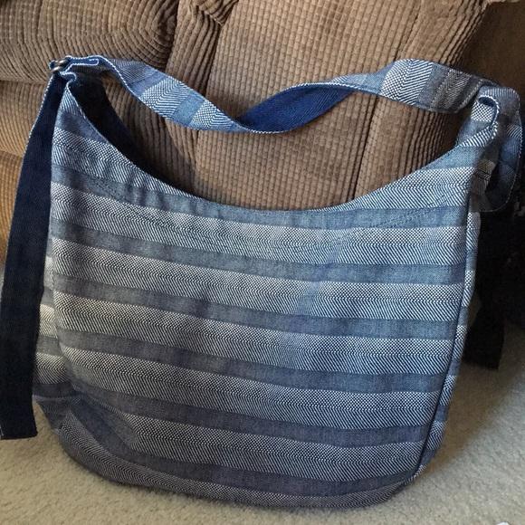Thirty-One Retro Metro Hobo Crossbody Purse//Handbag Woven Stripe $48 New